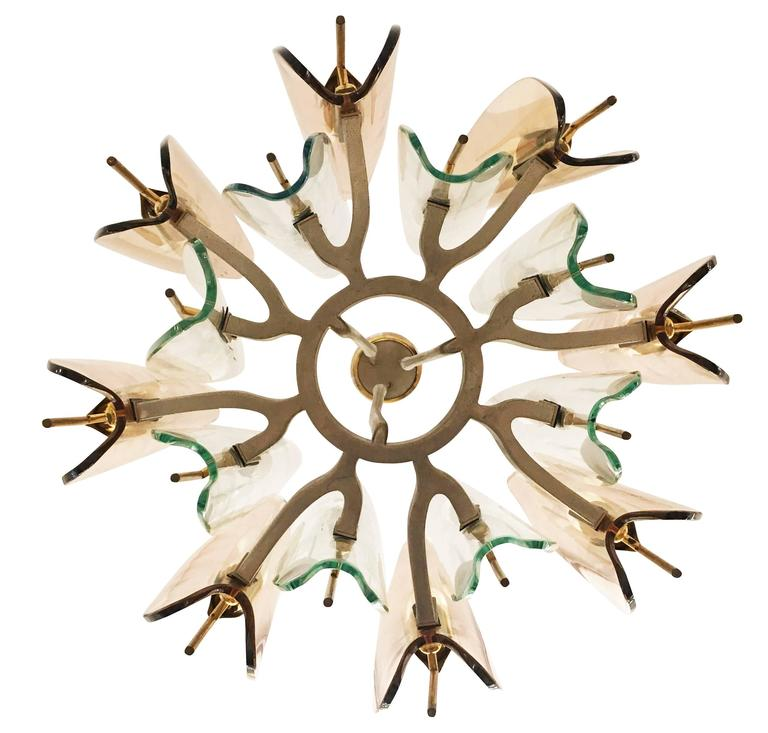 """Dahlia"" Chandelier by Max Ingrand for Fontana Arte, 1954 8"