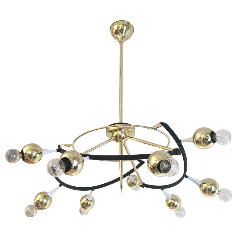 Mid-Century Modern Orbital Stilnovo Chandelier, Italy, 1960s For Sale