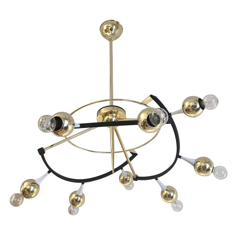 Italian Orbital Stilnovo Chandelier, Italy, 1960s For Sale