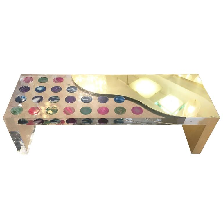 One of a kind coffee table by Studio Superego made in Plexiglas and brass with colorful embedded agate stones. Produced in 2016.