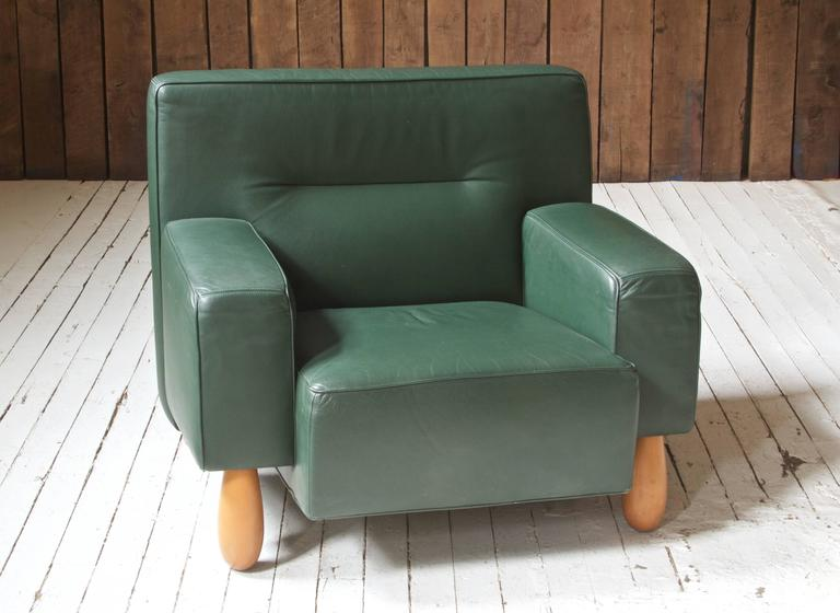 Italian Moroso for Vitra Inc. Green Leather Armchair with Turned Feet