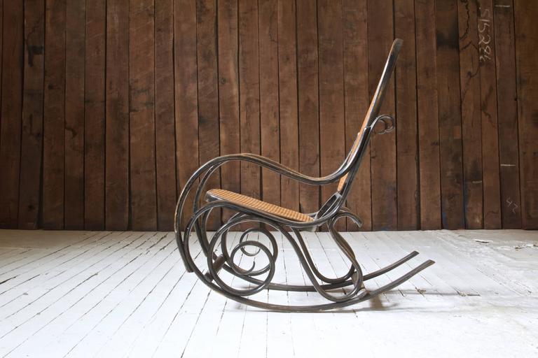 Art Nouveau Antique Thonet Model #10 Bentwood Rocking Chair; Salvatore  Leone, circa 1890s - Antique Thonet Model #10 Bentwood Rocking Chair; Salvatore Leone