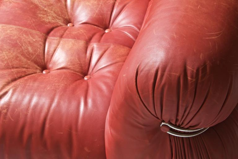 Late 20th Century Distressed Red Leather
