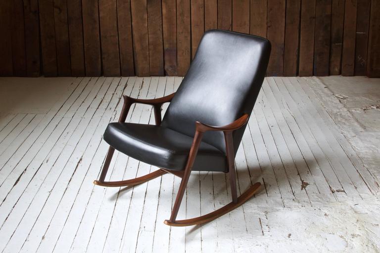 Norwegian Ingmar Relling for Westnofa Sculpted Teak and Black Vinyl Rocking Chair