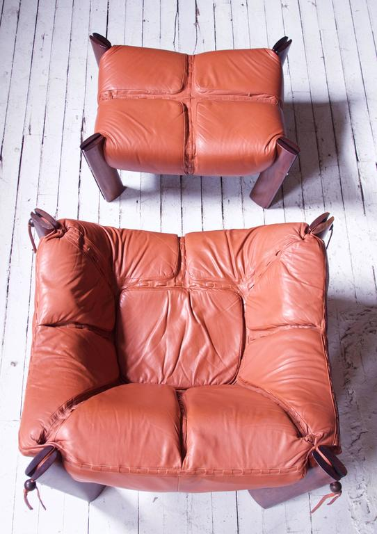 Percival Lafer MP-211 Brazilian Rosewood & Leather Lounge Chair & Ottoman, 1970s In Excellent Condition In Brooklyn, NY