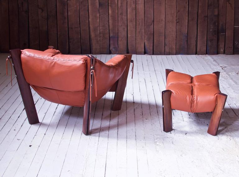 Polished Percival Lafer MP-211 Brazilian Rosewood & Leather Lounge Chair & Ottoman, 1970s