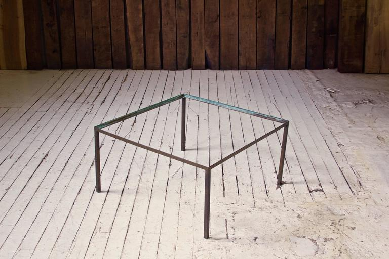Vintage Italian Black  Marble and Bronze Square Coffee Table, 1970s In Excellent Condition For Sale In Brooklyn, NY