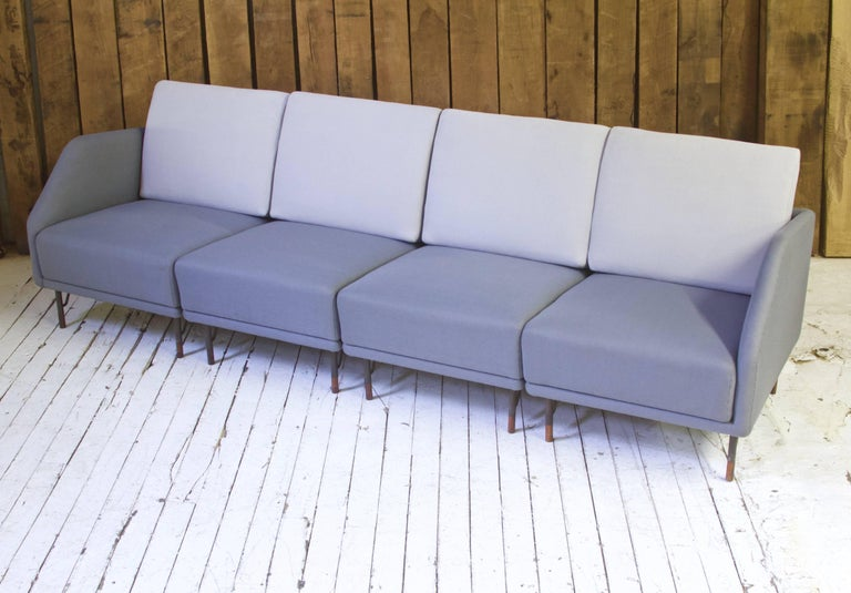 Mid-20th Century Rarest Finn Juhl for Bovirke Two-Tone Wool & Rosewood Modular Sofa Set; 1953 For Sale