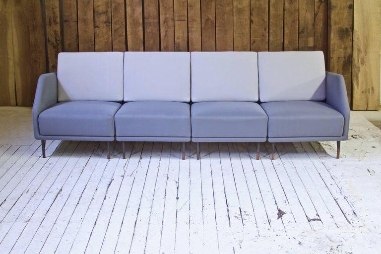 Scandinavian Modern Rarest Finn Juhl for Bovirke Two-Tone Wool & Rosewood Modular Sofa Set; 1953 For Sale