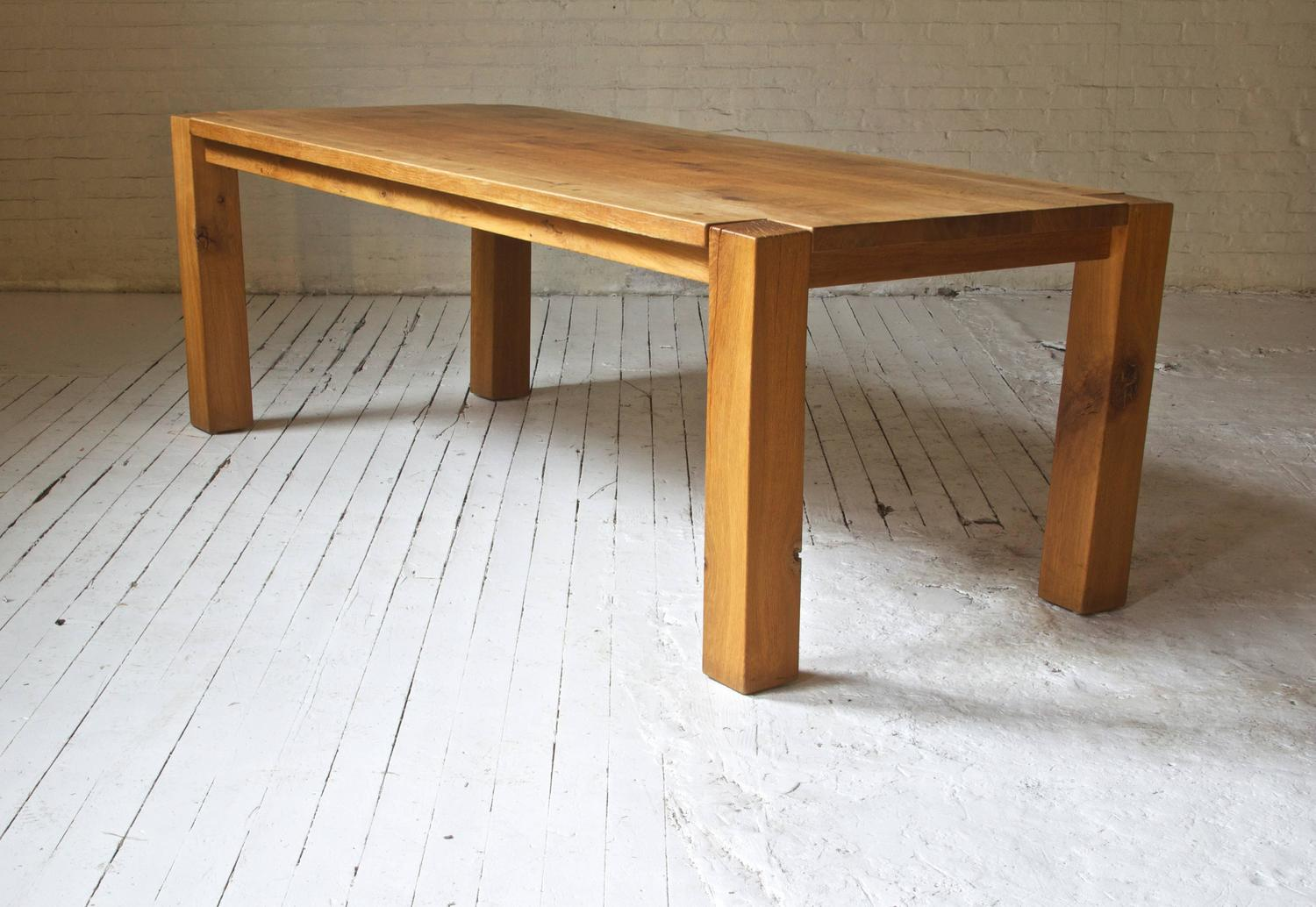 robust custom oak dining table and bench for sale at 1stdibs