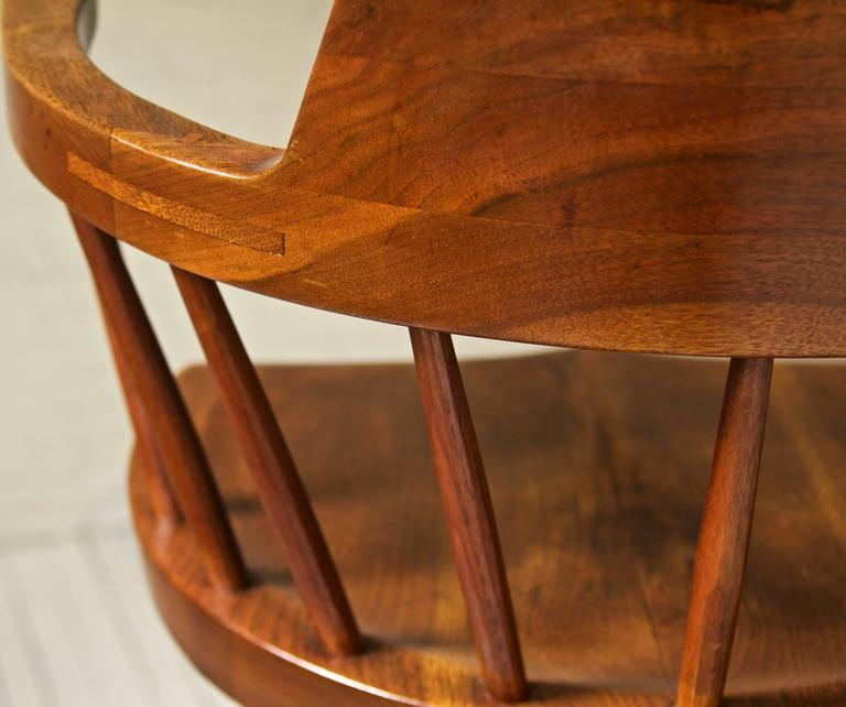Mid-20th Century Rare George Nakashima Walnut Dining Set with Four Captain's Chairs