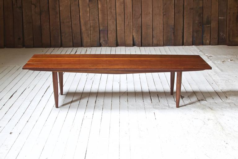 Long Coffee Table Attributed To Phillip Lloyd Powell With Turned Legs And  Solid Figured Cherry Top