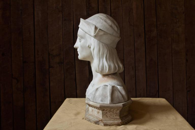 Neoclassical Antique Italian Marble Bust by Aristide Petrilli For Sale