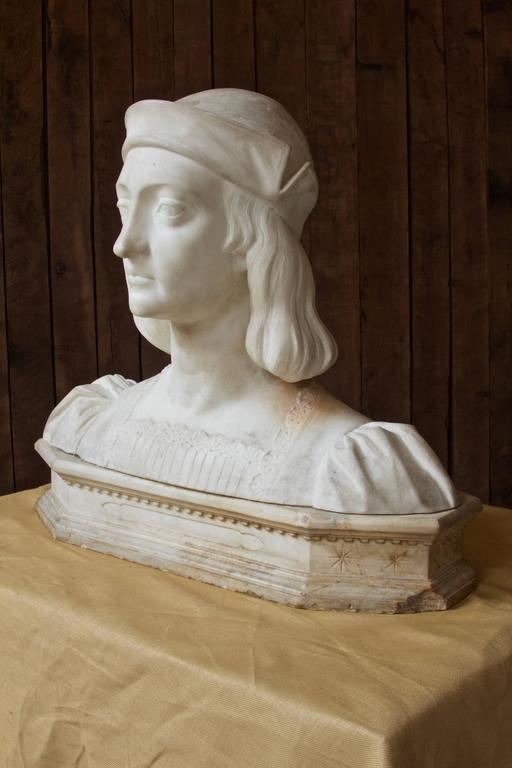 Carved Antique Italian Marble Bust by Aristide Petrilli For Sale