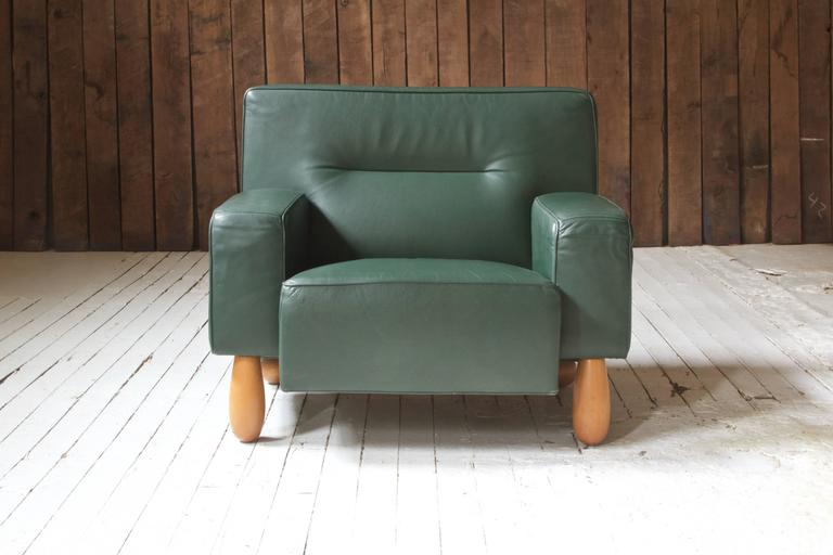 Post-Modern Moroso for Vitra Inc. Green Leather Armchair with Turned Feet
