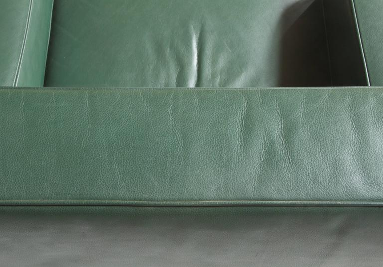 Moroso for Vitra Inc. Green Leather Armchair with Turned Feet In Good Condition In Brooklyn, NY