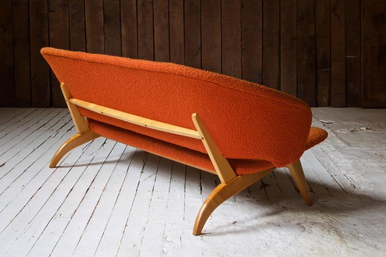 Mid-Century Modern Early Jens Risom for Knoll Maple and Wool Settee, 1940s