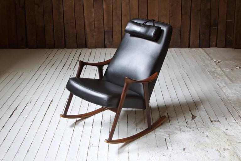 Scandinavian Modern Ingmar Relling for Westnofa Sculpted Teak and Black Vinyl Rocking Chair