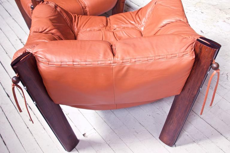 Late 20th Century Percival Lafer MP-211 Brazilian Rosewood & Leather Lounge Chair & Ottoman, 1970s