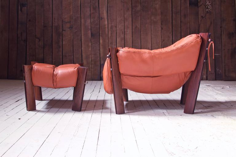 Mid-Century Modern Percival Lafer MP-211 Brazilian Rosewood & Leather Lounge Chair & Ottoman, 1970s