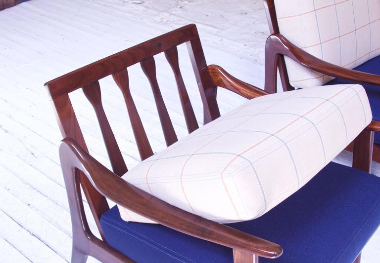 Pair of Vintage Fredrik A. Kayser Teak and Wool Lounge Chairs, Norway, 1950s 2