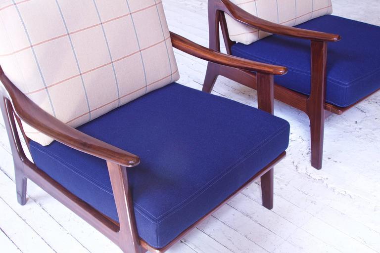 Pair of Vintage Fredrik A. Kayser Teak and Wool Lounge Chairs, Norway, 1950s 1