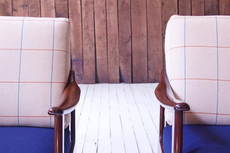 Mid-20th Century Pair of Vintage Fredrik A. Kayser Teak and Wool Lounge Chairs, Norway, 1950s