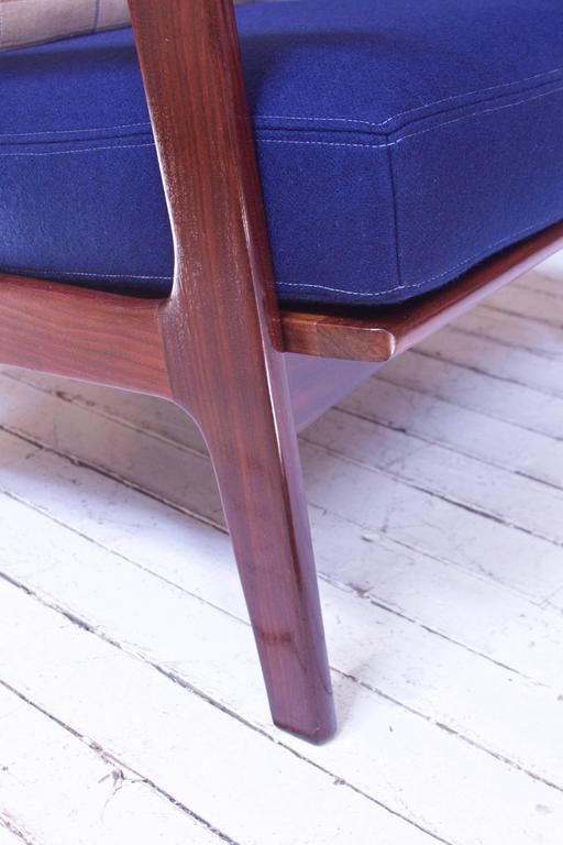 Pair of Vintage Fredrik A. Kayser Teak and Wool Lounge Chairs, Norway, 1950s 3
