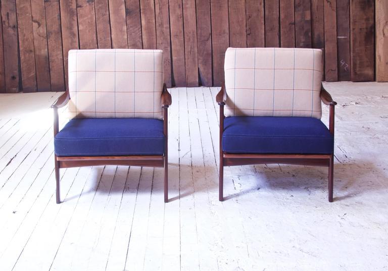 Norwegian Pair of Vintage Fredrik A. Kayser Teak and Wool Lounge Chairs, Norway, 1950s