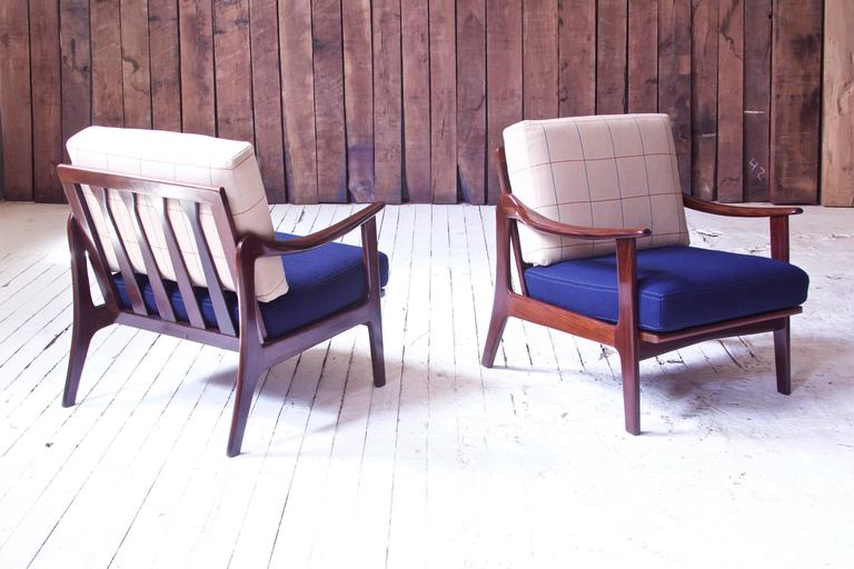 Scandinavian Modern Pair of Vintage Fredrik A. Kayser Teak and Wool Lounge Chairs, Norway, 1950s