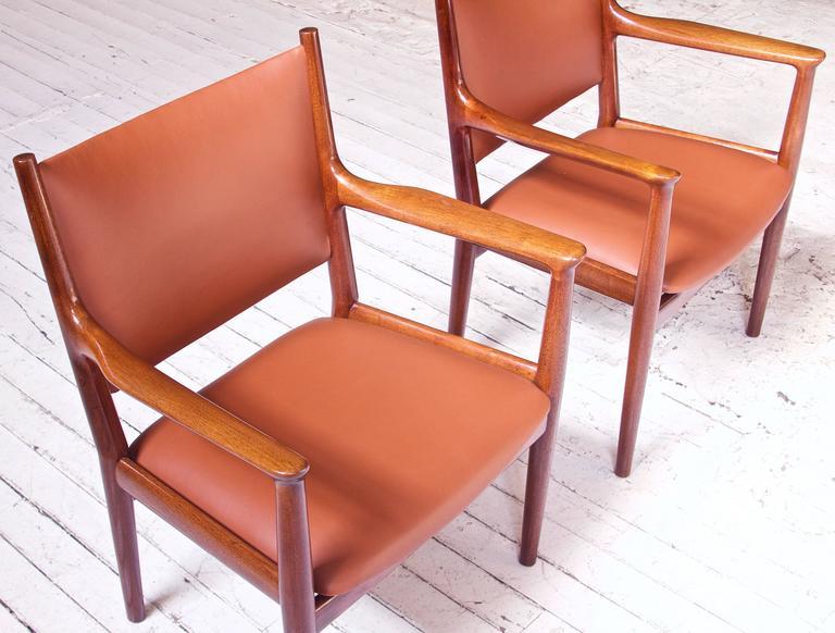 Pair of JH-513 Hans Wegner for Johannes Hansen Teak and Leather Armchairs, 1960s 1