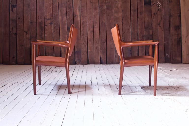 Polished Pair of JH-513 Hans Wegner for Johannes Hansen Teak and Leather Armchairs, 1960s