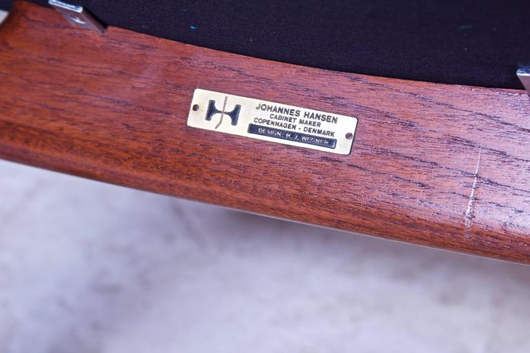 Pair of JH-513 Hans Wegner for Johannes Hansen Teak and Leather Armchairs, 1960s 3