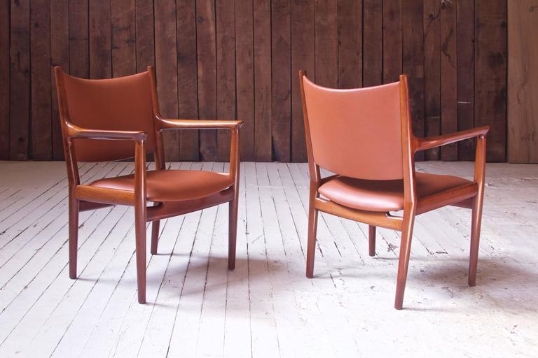 Danish Pair of JH-513 Hans Wegner for Johannes Hansen Teak and Leather Armchairs, 1960s