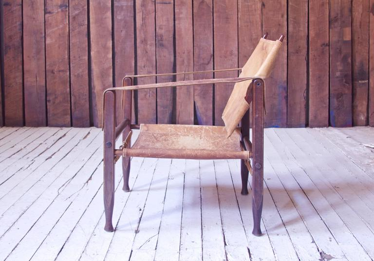 Danish Vintage Kaare Klint Leather and Stained Beechwood Safari Chair, 1940s For Sale