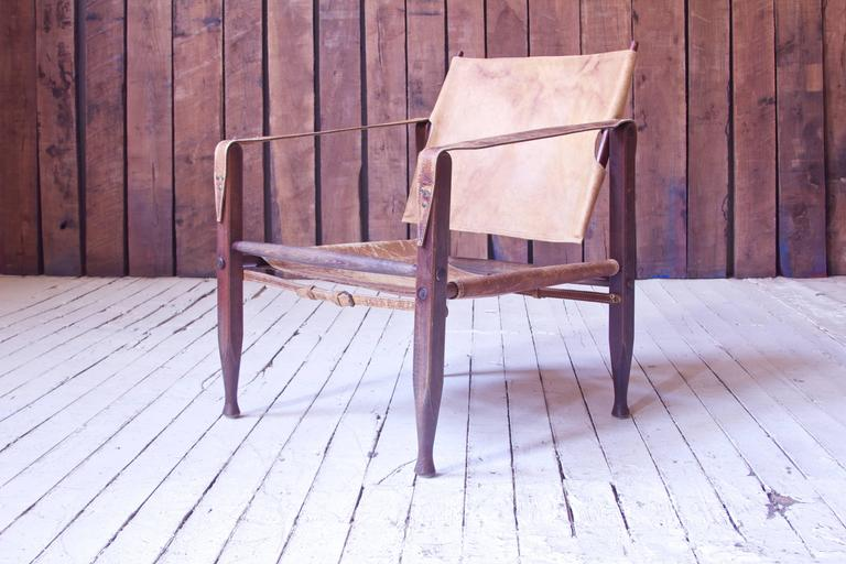 Vintage Kaare Klint Leather and Stained Beechwood Safari Chair, 1940s For Sale 2