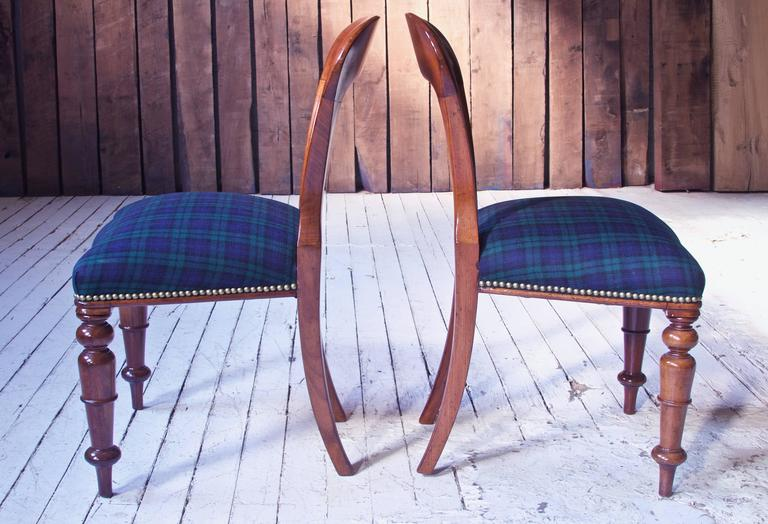 Carved William IV Set of 8 'Balloon' Chairs in Cuban Mahogany and Blue Plaid Wool 1830s