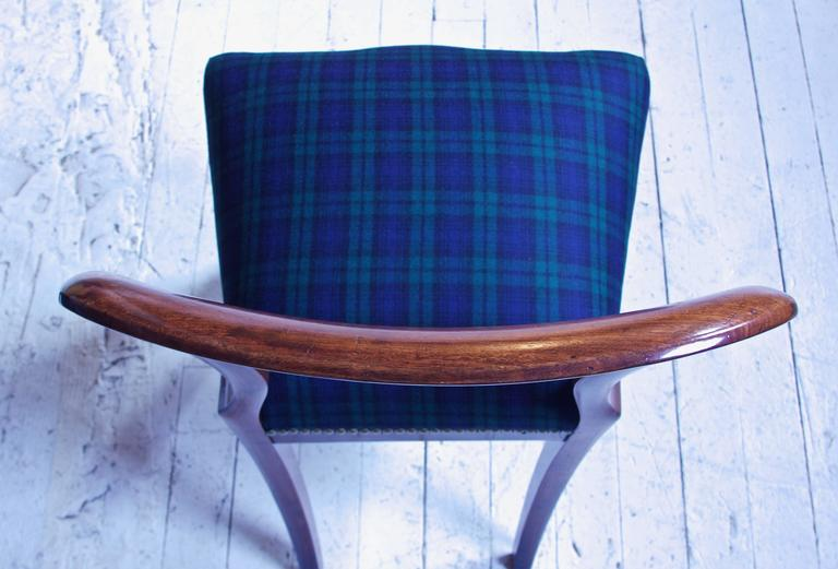 William IV Set of 8 'Balloon' Chairs in Cuban Mahogany and Blue Plaid Wool 1830s 2