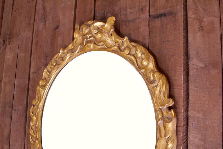 Baroque Revival Antique Italian Neo-Baroque Hand-Carved Giltwood Wall Mirror, circa 1910 For Sale