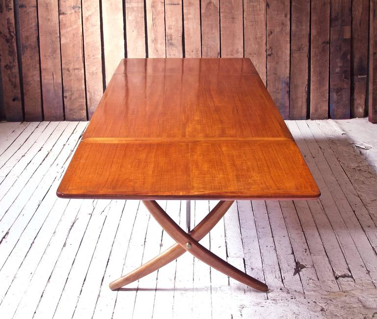 Danish Vintage Hans Wegner AT-304 Sabre-Leg Dining Table in Teak, Oak & Brass, 1955