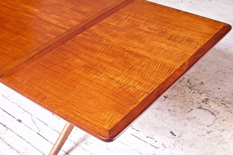 Vintage Hans Wegner AT-304 Sabre-Leg Dining Table in Teak, Oak & Brass, 1955 2