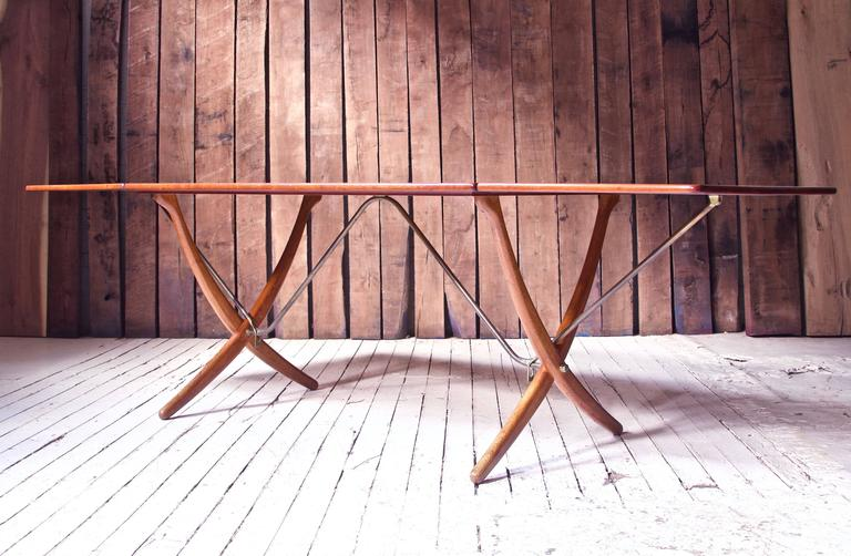 Scandinavian Modern Vintage Hans Wegner AT-304 Sabre-Leg Dining Table in Teak, Oak & Brass, 1955