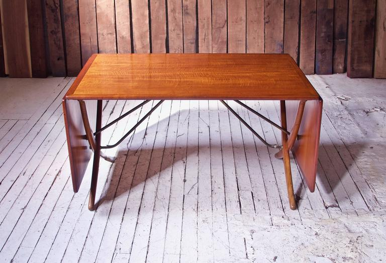 Vintage Hans Wegner AT-304 Sabre-Leg Dining Table in Teak, Oak & Brass, 1955 3