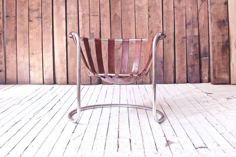 Metalwork Vintage Rare French Brown Leather and Chrome Cantilever Sling Chair, 1970s