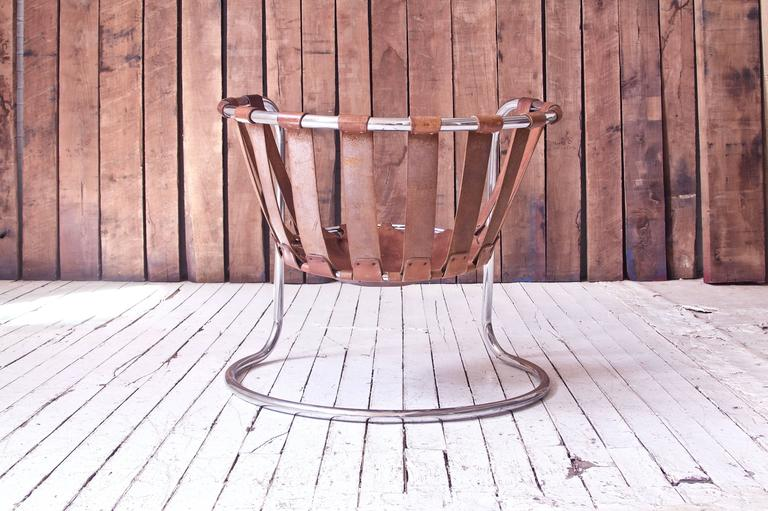 Vintage Rare French Brown Leather and Chrome Cantilever Sling Chair, 1970s In Good Condition In Brooklyn, NY