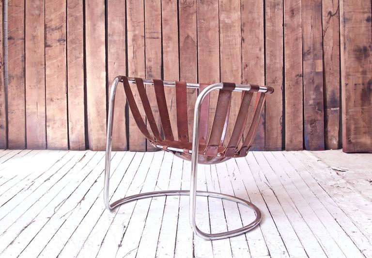 Mid-Century Modern Vintage Rare French Brown Leather and Chrome Cantilever Sling Chair, 1970s