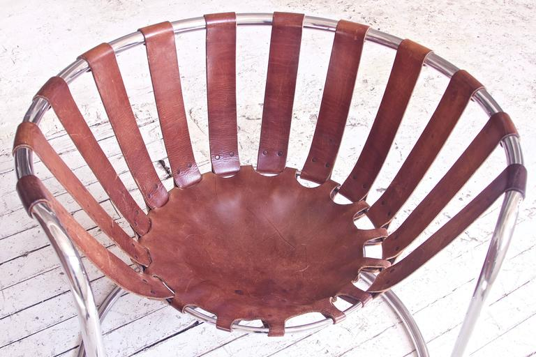 Steel Vintage Rare French Brown Leather and Chrome Cantilever Sling Chair, 1970s