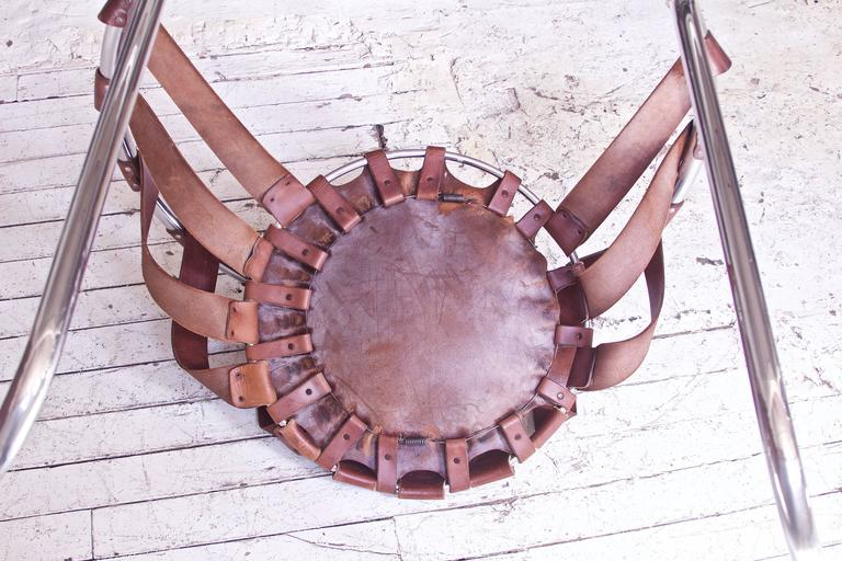 Vintage Rare French Brown Leather and Chrome Cantilever Sling Chair, 1970s 1
