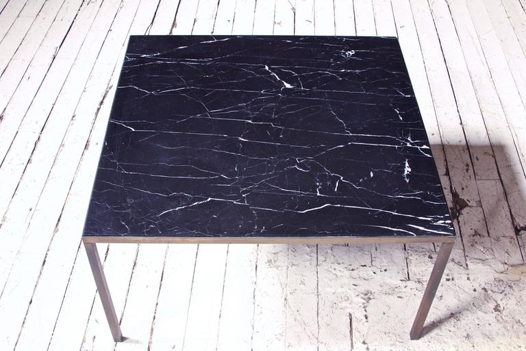 Mid-Century Modern Vintage Italian Black  Marble and Bronze Square Coffee Table, 1970s For Sale