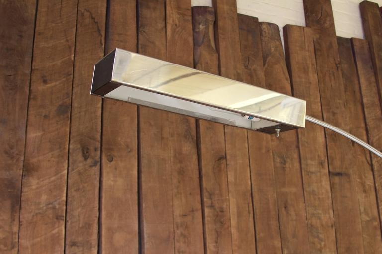 Vintage Signed Robert Sonneman Chrome Adjustable Arc Lamp
